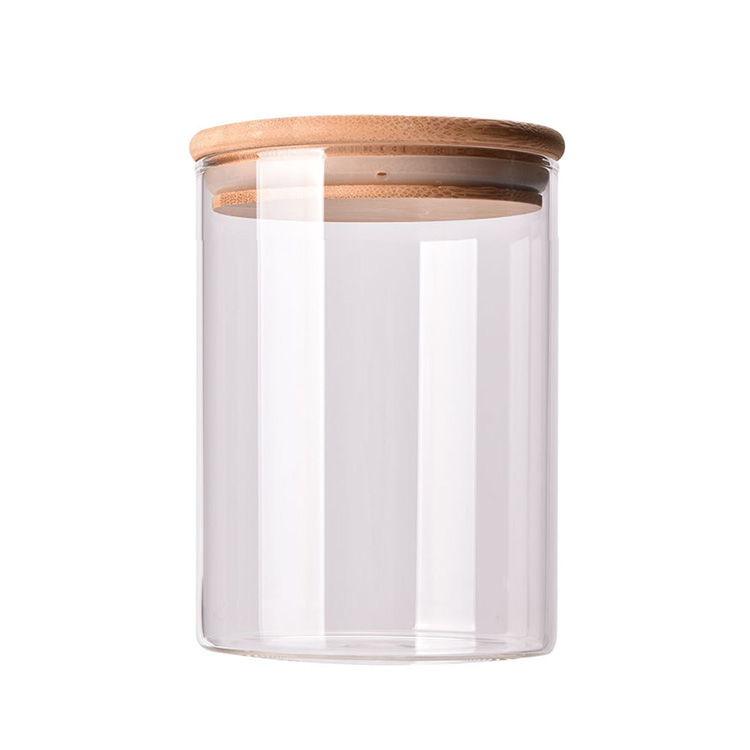 DJ-001 small kitchen storage container clear glass jar with bamboo lid