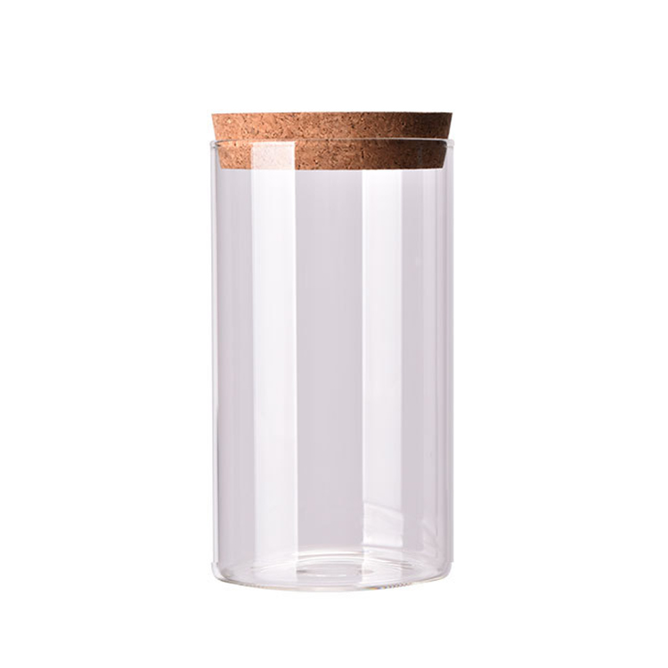 Wood Cork Lid Glass Jar