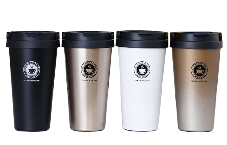 Unique 500 ml stainless steel vacuum insulation coffee cup with PP lid