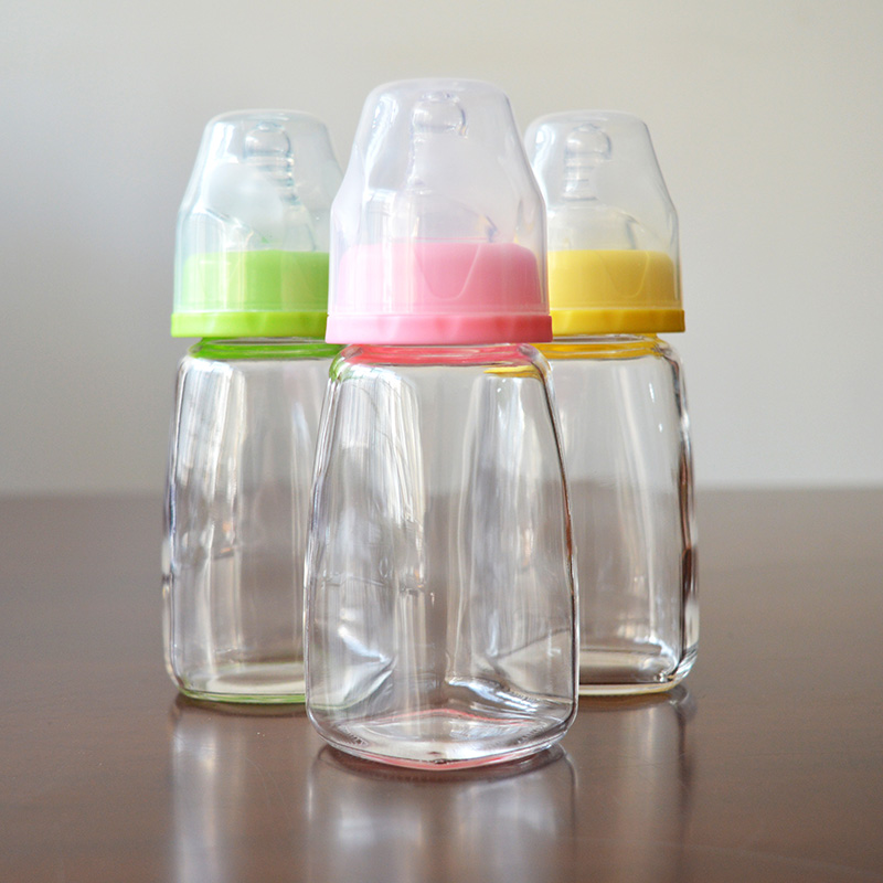 Custom square standard mouth borosilicate glass feeding bottles