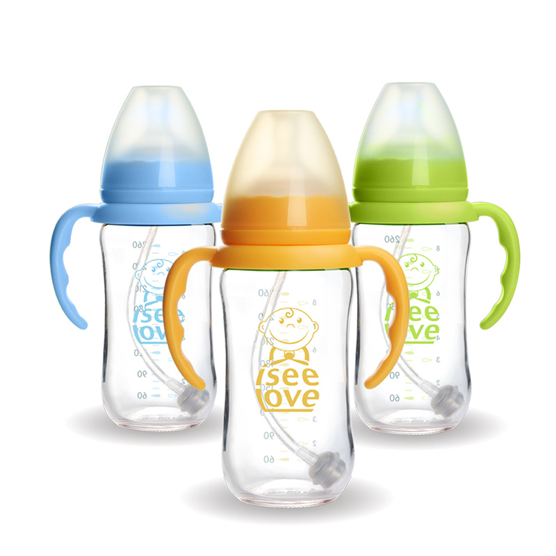 glass baby bottle with handle